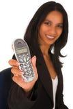 gospodarstwa bizneswomanu wyizolowana telefon Zdjęcia Stock