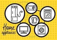 Gospodarstwa domowego urządzenie dla domowego i kuchennego ikona setu ilustracja wektor
