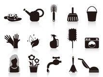 gospodarstwo domowe czarny ikony ilustracja wektor