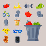 Gospodarstwo domowe jałowych śmieciarskich ikon wektorowy ilustracyjny grat przetwarza ekologii środowisko odizolowywającego prze Obraz Stock