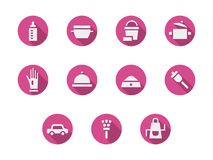 Gospodarstwo domowe obowiązek domowy menchii round ikony ustawiać royalty ilustracja