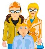 Gospodarstwo domowe para z dziecko nastolatkiem na białym tle obrazy stock