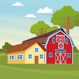 Gospodarstwo rolne i stajnia ilustracja wektor