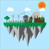 Gospodarstwo rolne w pięknym dniu i dobrej pogodzie Royalty Ilustracja