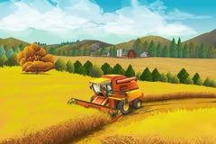 Gospodarstwo rolne, wektorowy tło krajobrazu wiejskiego ilustracja wektor