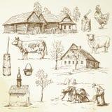 Gospodarstwo rolne, wiejscy domy Zdjęcia Stock