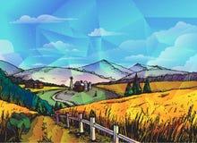 Gospodarstwo rolne, wiejski krajobrazowy wektorowy tło ilustracja wektor