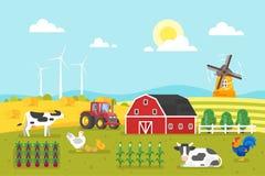Gospodarstwo rolne z krowami i kurczakiem ilustracji