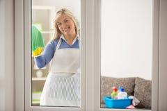 Gospodyń domowych płuczkowi okno zdjęcia royalty free