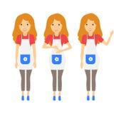 Gospodyni domowa charakter - set Domowa kobieta ilustracji