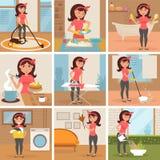 Gospodyni domowa Cleaning, kucharstwo, domycie, Zdjęcia Stock