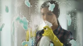 Gospodyni domowa rozpyla różnych nadokiennych czyścicieli na szkle, przynosi dom rozkaz zdjęcie wideo