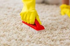 Gospodyni domowa scrubing dywan i myje Zdjęcie Stock