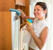 Gospodyni domowej cleaning meble z natryskownicą zdjęcie royalty free