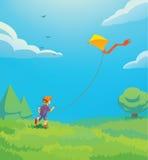 Gosse avec le cerf-volant illustration stock