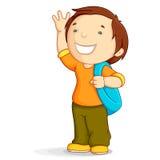 Gosse avec le sac d'école Photo libre de droits