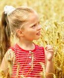 Gosse dans le domaine de blé. Photo libre de droits