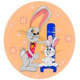 Gosse de lapin avec la carte de dessin animé de père Image stock