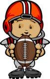 Gosse de sourire du football avec la bille de fixation de casque illustration de vecteur