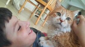 Gosse et chat Photos libres de droits