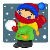 Gosse jouant avec la neige. illustration. Images libres de droits