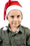 gosse mignon Santa de chapeau Photos libres de droits