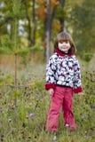 Gosse restant dans la forêt d'automne Photo stock