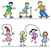 Gosses actifs de dessin animé/ENV Images libres de droits