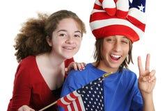 Gosses américains patriotes Images libres de droits