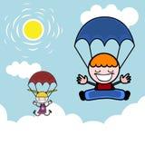 Gosses avec le parachute Images libres de droits