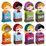 Gosses de diversité - jeux vidéo Images libres de droits