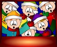 Gosses de Noël regardant dans l'hublot Photo stock