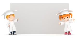 gosses et panneau blanc illustration stock