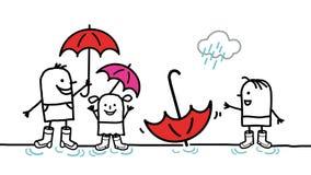 Gosses et pluie Image libre de droits