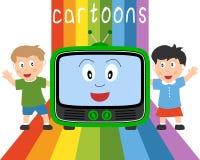 Gosses et télévision - dessins animés Images libres de droits