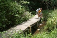 Gosses explorant l'itinéraire aménagé pour amateurs de la nature Lizenzfreie Stockbilder