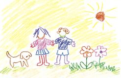 Gosses, fleurs, crabot et soleil Photos libres de droits