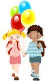 Gosses heureux avec des ballons. enfance d'école. illustration de vecteur