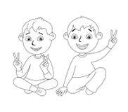 Gosses heureux de dessin animé Photo stock
