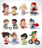 Gosses heureux mignons de dessin animé Photos stock