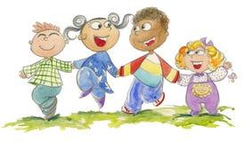 Gosses heureux - watercolour Image libre de droits
