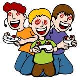 Gosses intoxiqués de jeu vidéo Images libres de droits