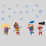 Gosses jouant dans la neige 3d Image stock