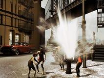 Gosses jouant dans la rue illustration libre de droits