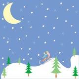 Gosses jouant en hiver Illustration de Vecteur