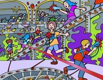 Gosses jouant l'étiquette de laser illustration libre de droits
