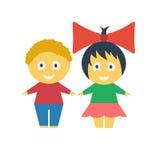 Gosses mignons Garçon et fille de dessin animé Garçon aux cheveux bouclés auburn Fille gaie avec un arc rouge Photographie stock libre de droits
