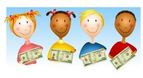 Gosses retenant des factures d'argent Image stock