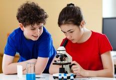 Gosses utilisant le microscope Images stock