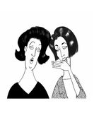 Gossip. Cartoon illustration of woman reacting in shock to a piece of gossip royalty free illustration